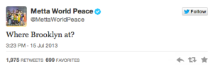 World Peace sent out this tweet, which is sure to add a spark to the rivalry.