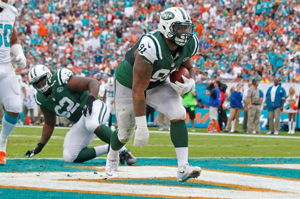 Sheldon Richardson after scoring a rushing touchdown. (Courtesy of Getty Images)