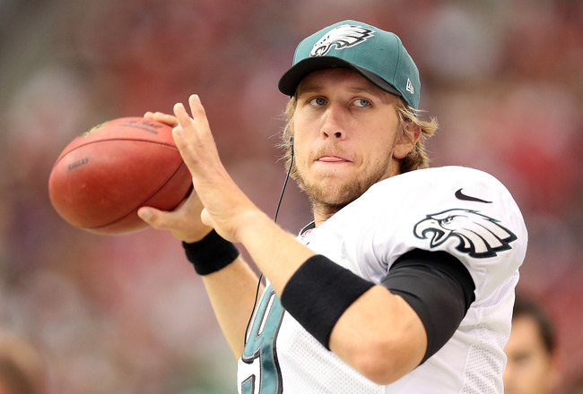 The 29-year old son of father Larry Foles and mother Melissa Foles, 198 cm tall Nick Foles in 2018 photo