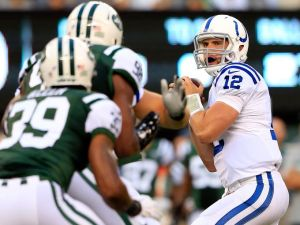 The Jets travel to Indy to take on Andrew Luck and the Colts in primetime. (Getty Images)