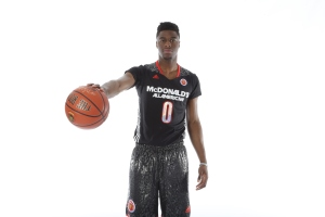 Mar 29, 2014; Chicago, IL, USA; McDonalds High School All American guard Emmanuel Mudiay (0) poses for photos on portrait day at the Marriott Hotel . Mandatory Credit: Brian Spurlock-McDonalds