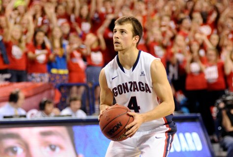 Nov 17, 2013; Spokane, WA, USA; Gonzaga Bulldogs guard Kevin Pangos (4) attempts a free throw after a technical foul on Oakland Golden Grizzlies during the first half at McCarthey Athletic Center. Mandatory Credit: James Snook-USA TODAY Sports