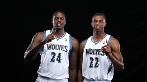 MINNEAPOLIS, MN - AUGUST 26:  Anthony Bennett #24 and Andrew Wiggins #22 of the Minnesota Timberwolves pose for portraits on August 26, 2014 at Target Center in Minneapolis, Minnesota.  NOTE TO USER: User expressly acknowledges and agrees that, by downloading and or using this Photograph, user is consenting to the terms and conditions of the Getty Images License Agreement. Mandatory Copyright Notice: Copyright 2014 NBAE (Photo by David Sherman/NBAE via Getty Images)