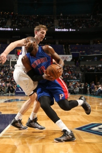 CHARLOTTE, NC - FEBRUARY 10: Greg Monroe #10 of the Detroit Pistons handles the ball against the Charlotte Hornets at Time Warner Cable Arena on February 10, 2015 in Charlotte, North Carolina. NOTE TO USER: User expressly acknowledges and agrees that, by downloading and or using this photograph, User is consenting to the terms and conditions of the Getty Images License Agreement.  Mandatory Copyright Notice:  Copyright 2015 NBAE (Photo by Kent Smith/NBAE via Getty Images)