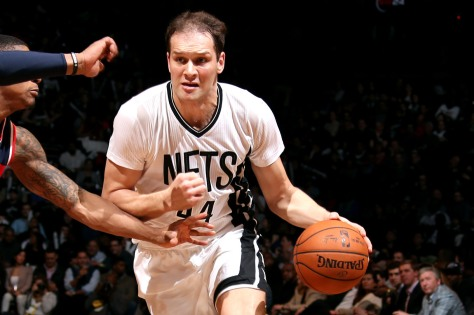 NEW YORK, NY - APRIL 10: Bojan Bogdanovic #44 of the Brooklyn Nets drives against the Washington Wizards on April 10, 2015 at the Barclays Center in the Brooklyn borough of New York City. NOTE TO USER: User expressly acknowledges and agrees that, by downloading and or using this Photograph, user is consenting to the terms and conditions of the Getty Images License Agreement. Mandatory Copyright Notice: Copyright 2015 NBAE (Photo by Nathaniel S. Butler/NBAE via Getty Images)