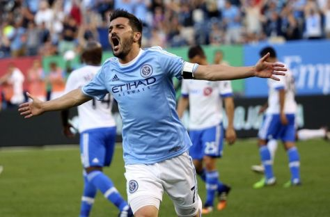 Jun 13, 2015; New York, NY, USA; New York City FC forward David Villa (7) celebrates his goal during the first half against the Montreal Impact at Yankee Stadium. Mandatory Credit: Anthony Gruppuso-USA TODAY Sports