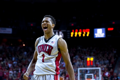 Runnin' Rebels guard Rashad Vaughn celebrates during UNLV's 71-67 upset win over No. 3 Arizona on Dec. 23 at the Thomas & Mack Center. JEREMY RINCON - See more at: http://www.unlvrebelyell.com/2015/03/27/report-vaughn-to-enter-nba-draft/#sthash.6znd1y9v.dpuf