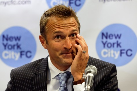 New York City Football Club Head Coach Jason Kreis answers a question at a press conference held to introduce him to the media, Friday, January 10, 2014, in New York.  Ray Stubblebine/New York City Football Club/HANDOUT
