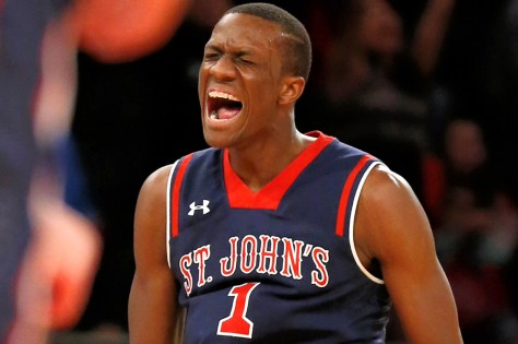 New York, N.Y.  11/28/14 Phil Greene IV #1 of the St. John's Red Storm reacts after he hits a three point shot in the second half. Gonzaga Bulldogs defeated St. John's Red Storm during the NIT Pre-Season Tip-Off tournament at Madison Squared Garden on November 28, 2014.  (Paul J. Bereswill)