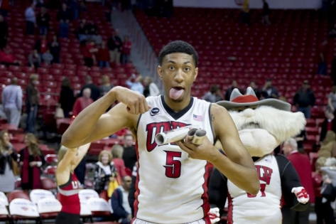 UNLV forward Chris Wood celebrates after UNLV's win over Wyoming on Feb. 28. (Photo by Jeremy Rincon)